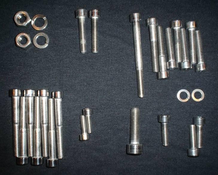 YAMAHA MX100 DT100 RT100 POLISHED STAINLESS ENGINE BOLT SCREW kit SET